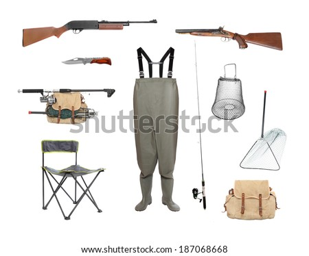 Great collection of a fishing and hunting equipment isolated on a white background. - stock photo