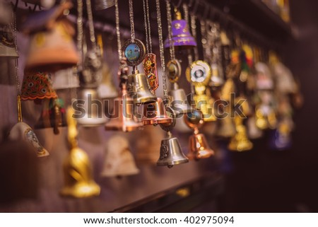 Great collection of beautiful bells from different countries of the world - stock photo