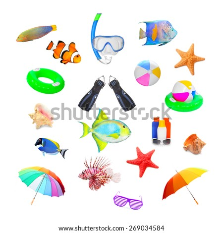 Great collection of isolated objects on tropical beach vacations theme. - stock photo
