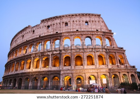 Great Colosseum at dusk, Rome, Italy - stock photo