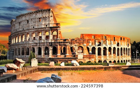 great Colosseum on sunset, Rome - stock photo