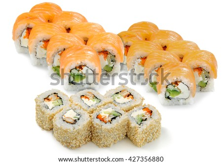 Great complement for watching film. Big sushi set with various types of sushi and tasty ingredients: salmon, cucumber, sesam, avocado and caviar. Oriental delicacy. - stock photo