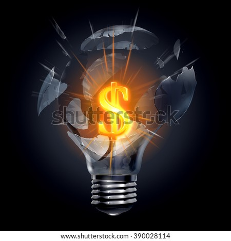 Great, cool and explosive money making idea. Dollar symbol glows among flying debris of light bulb on a dark background - stock photo