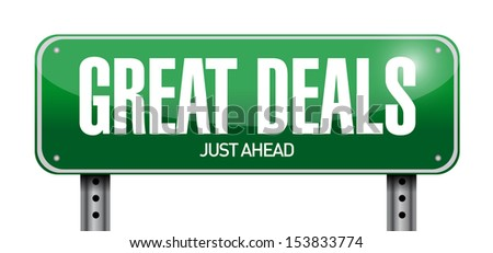 great deals road sign illustration design over a white background - stock photo