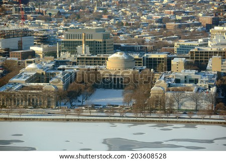 Great Dome of Massachussets Institute of Technology (MIT) Aerial view in winter, Cambridge, Massachusetts, USA - stock photo