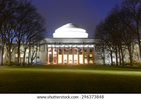 Great Dome of Massachussets Institute of Technology (MIT) at night, Cambridge, Massachusetts, USA - stock photo