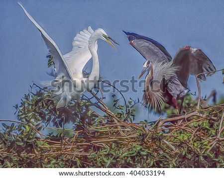 Great egret and great blue heron fight over nesting site,digital oil painting