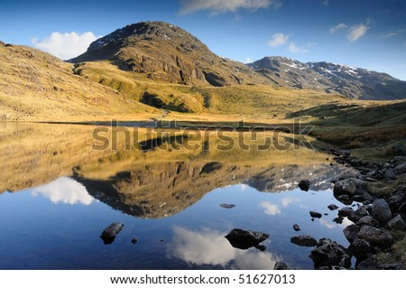 Great End reflected in Styhead Tarn, English Lake District