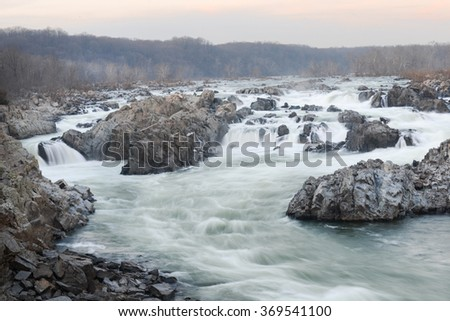 Great Falls National Park in Winter - Virginia USA  - stock photo