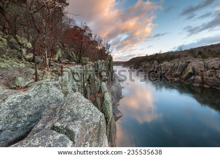 Great Falls National Park River Trail Mather Gorge Sunrise Scenic - stock photo