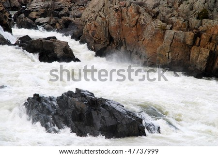 Great Falls on the Potomac river between Virginia and Maryland - stock photo