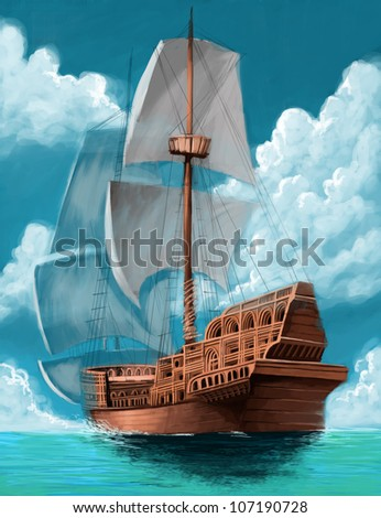 great galleon with open sails in the ocean background - stock photo