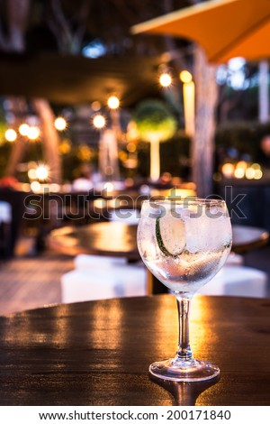 Great Gin Tonic in a night pub. - stock photo