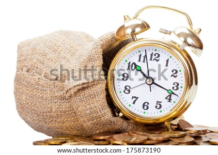 Great golden alarm clock faces on coins. Time is money