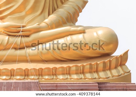 Great golden buddha imagery in Buddhist temple - stock photo