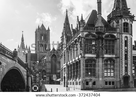 Great gothic catholic church cathedral castle. Sunny day. - stock photo