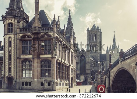 Great gothic catholic church cathedral castle. Sunny day. Vintage effect.  - stock photo