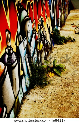 Great Graffiti tag, colorful and vibrant showing perspective and grunge looking floor - stock photo