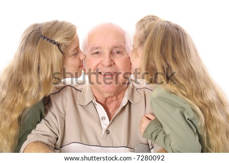 great grandfather kiss - stock photo