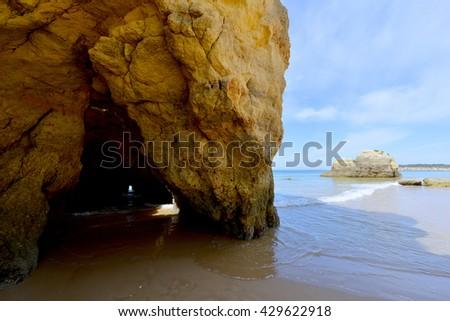 Great Great view of a Praia da Rocha in Portimao. Algarve region. Portugal. view of a Praia da Rocha in Portimao. Algarve region. Portugal.  - stock photo