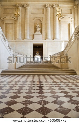 Great hall and staircase of Versailles Chateau. France