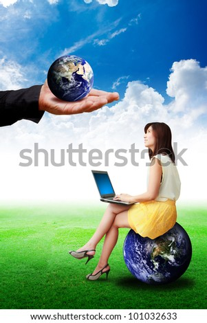 Great Hand give the earth to lady on globe : Elements of this image furnished by NASA