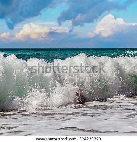great high tide of the sea. Focus on the lower and upper edge of the wave - stock photo