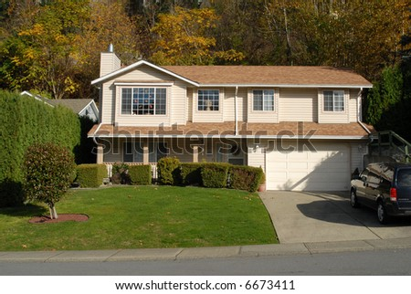 great house well lit in November - stock photo