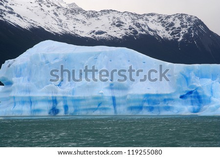 great iceberg floating in water, near of perito moreno glacier, in Argentina - stock photo