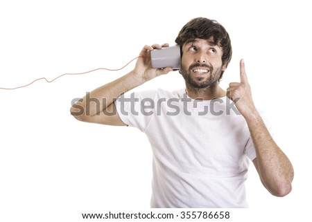 Great idea listening a message - stock photo