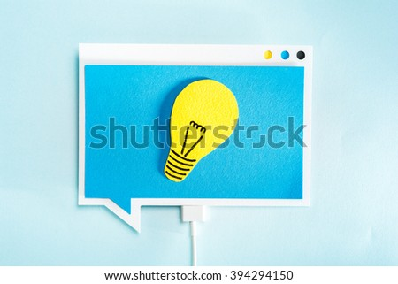 Great idea or thinking concept. Light bulb on blue speech bubble. Creative concept.