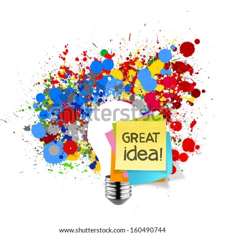 great idea sticky note with splash colors lightbulb on white background as concept - stock photo