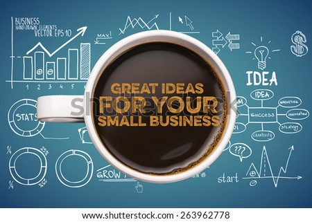 great ideas for your small business. coffee cup with business sketches background - stock photo