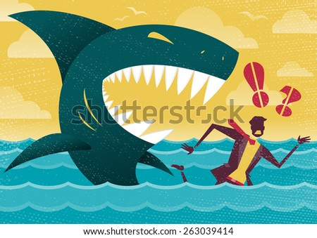 Great illustration of Retro styled Businessman Abandoned and helpless at sea in Shark infested waters and about to be eaten alive by a giant Killer Great White Shark. - stock photo