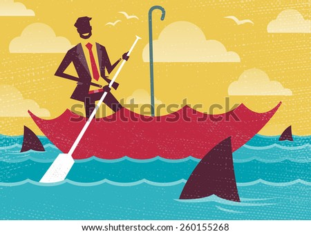 Great illustration of Retro styled Businessman carefully navigating Shark infested waters using his umbrella for added protection. - stock photo