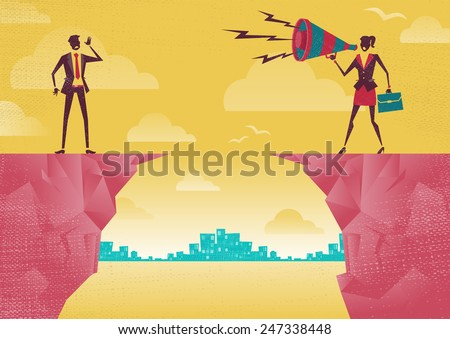 Great illustration of Retro styled Businesswoman standing on the cliffs shouting at the top of her voice through a loudspeaker megaphone to her colleague who is trying to hear her. - stock photo