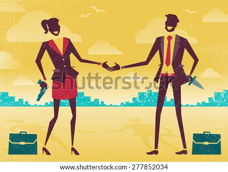 Great illustration of two Business People enjoying a friendly handshake to seal the deal only the guns and knives behind their backs conceal their true agendas. Betrayal seems the the true motive. - stock photo