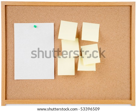 great image of notes pinned to a corkboard - stock photo