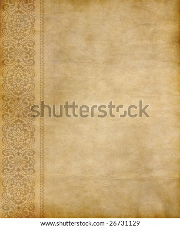 great image of old parchment paper with floral design
