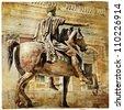 great italian landmarks series - statue of Marcus aurelius, retro styled picture - stock photo