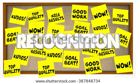 Great Job Good Work Recognition Praise Sticky Notes - stock photo