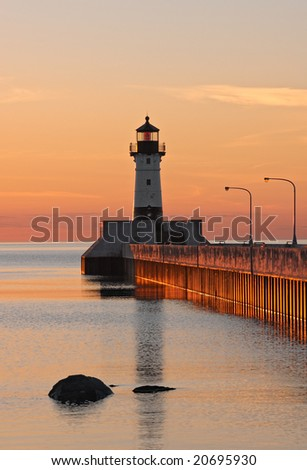 Great Lake Harbor Lighthouse Sunrise - Duluth Minnesota