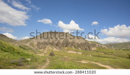 Great landscape with Hoodoo (geology, also called a tent rock, fairy chimney, and earth pyramid)