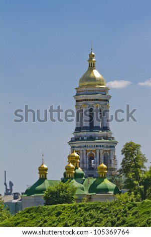 Great Lavra Bell tower. Kiev Pechersk Lavra or Kiev Monastery of the Caves is a historic Orthodox Christian monastery. Kiev Pechersk Lavra is UNESCO World Heritage Site. Kiev, Ukraine, Europa. - stock photo