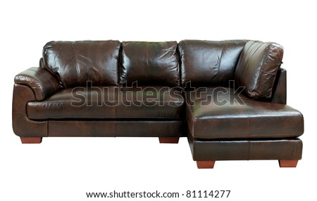 Great Luxury Of The Dark Brown Leather Sofa Bench Isolated On White  Background