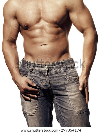 Great male man nude or naked body on a white background - stock photo