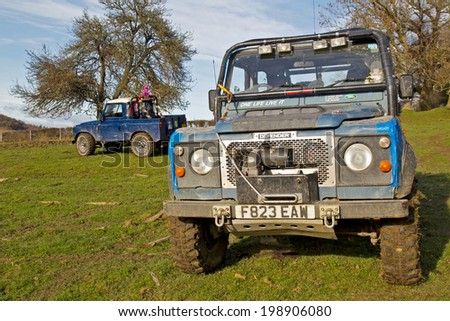 GREAT MALVERN, UK - DECEMBER 8: Land Rovers belonging to MROC owners leave their vehicles at the start of stage 2 of the Croft Farm off road trial competition on December 8, 2013 in Great Malvern