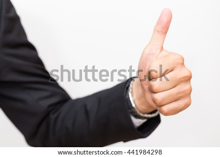 Great man, Business asian man hand show Thumb up on white background