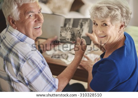 Great memories are kept in the album - stock photo