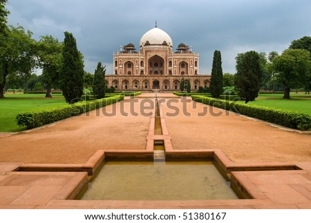 Great Mogul emperor Humayun's mausoleum in New Delhi, India - stock photo